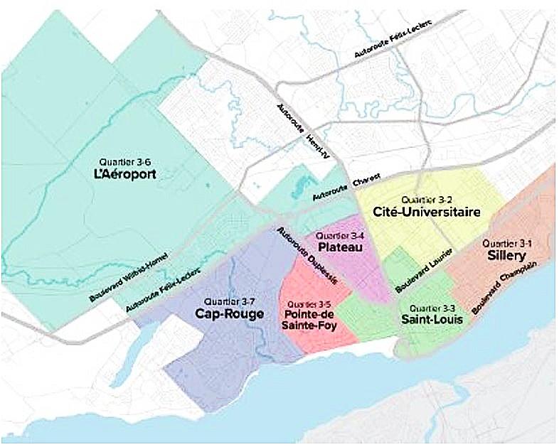 quartiers de l'arrondissement de Sainte-Foy–Sillery–Cap-Rouge