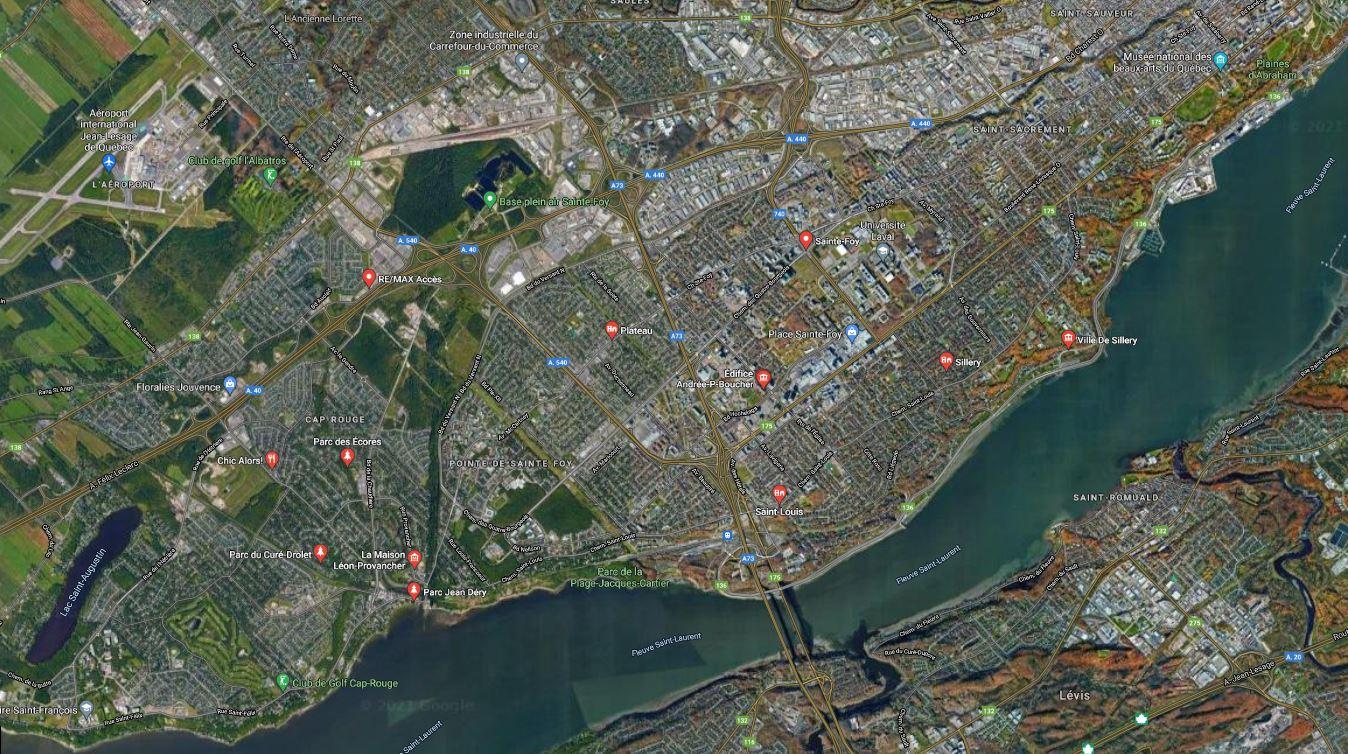 carte google maps arrondissement sainte-foy--sillery--cap-rouge